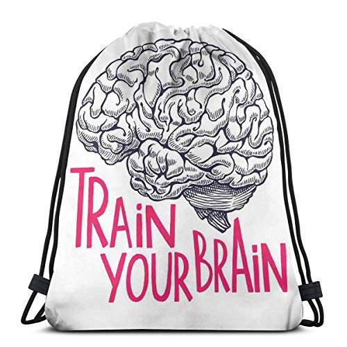 Jiger Drawstring Tote Bag Gym Bags Storage Backpack, Positive Quote On Human Brain Intelligence Head Skull Humor Modern Image Art,Very Strong Premium Quality Gym Bag for Adults & Children