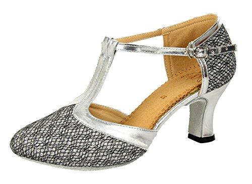 Honeystore Damen's Geschlossene Zehe T-Riemen Glitter Tanzschuhe Grau 3.5 UK