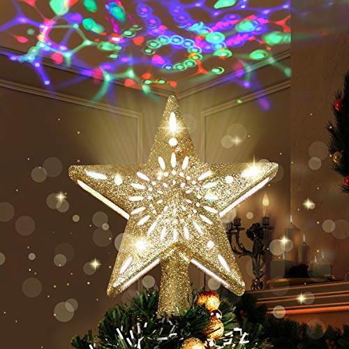 Joiedomi Gold Star Tree Topper for Christmas Tree Decorations, Home, Party, Wedding, Bedroom Decor Indoor Decor