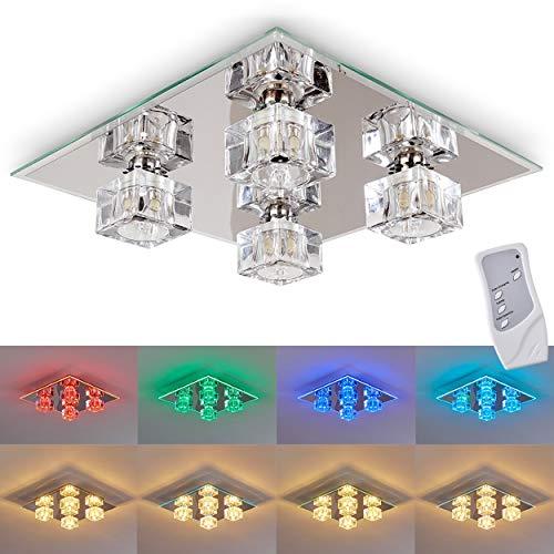 LED Deckenleuchte Burner, Deckenlampe aus Metall/Glas in Chrom, eckige Leuchte mit Glaswürfeln, 4-flammig, mit RGB Farbwechsler u. Fernbedienung