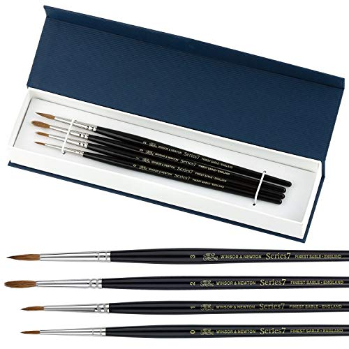 Winsor & Newton Series 7 Kolinsky Sable Watercolor Brushes - 100% Kolinsky Sable Brushes for Watercolor Gouache Ink and More - Professional 4 pc Round Watercolor Brush Set Sizes 0-1 - 2-3