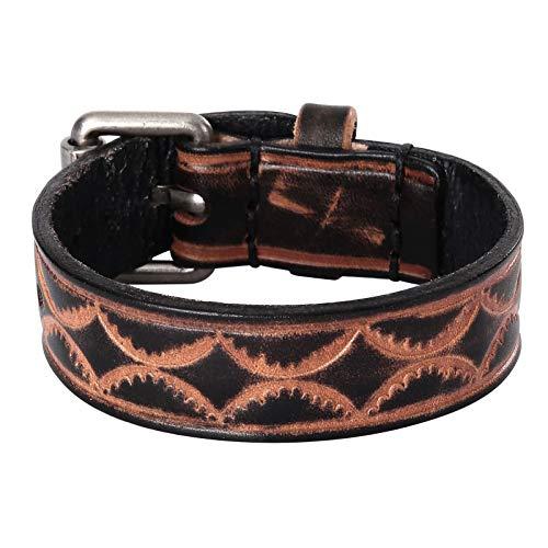 Daesar Men Bracelet Black, Leather Friendship Bracelets Vintage Pattern Watch Buckle Bracelet Black Bangle Bracelet Men