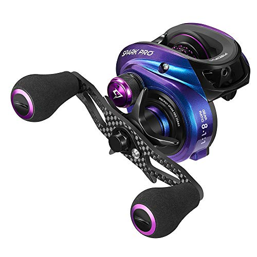 Piscifun Spark Pro Baitcasting Reel - Low Profile 8.1:1 Baitcaster Fishing Reel, Super Compact 16.5 LB Carbon Fiber Drag, 11 + 1 Shielded Ball Bearings Magnetic Brake System(Right Handed)