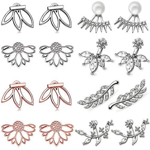 Suyi Pendientes huecos de la flor del loto de la manera Crystal Simple Chic Stud Pendientes Set