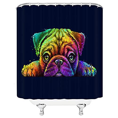 Mops-Duschvorhang-Set, süßer Welpe, H&, Haustierliebhaber, interessante lustige Tiere, bunt, ästhetische Kunst, Badezimmer-Dekoration mit Haken