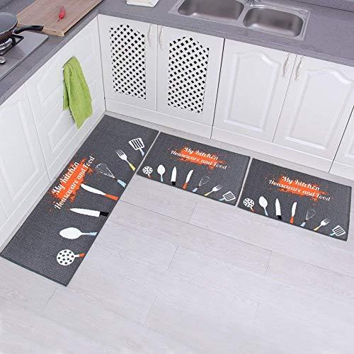 Carvapet 3 Pieza Alfombras Cocina Lavable Antideslizante Alfombrilla de Goma Alfombra de Baño Alfombrillas Cocina (Batería de cocina, Gris)