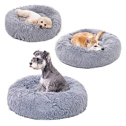 XDgrace Round Cat Bed House Soft Long Plush Pet Bed Kennel for Small Dogs Cats, Washable Puppy Dog Nest Winter Warm Sleeping Bed (L, Light Gray)