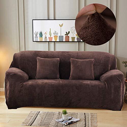 DSHRTY Funda de sofá,Funda de sofá de Felpa Gruesa elástica para Sala de Estar Cubierta de sofá de Terciopelo a Prueba de Polvo para Mascotas Fundas sofá Todo Incluido, café, 1, Asiento 90,140cm