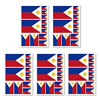 JBCD 5 Pcs Philippines Flag Tattoos Filipino Flag Stickers Face Tattoos Tattoos Temporary Decorations Suitable for Sports Event and Party
