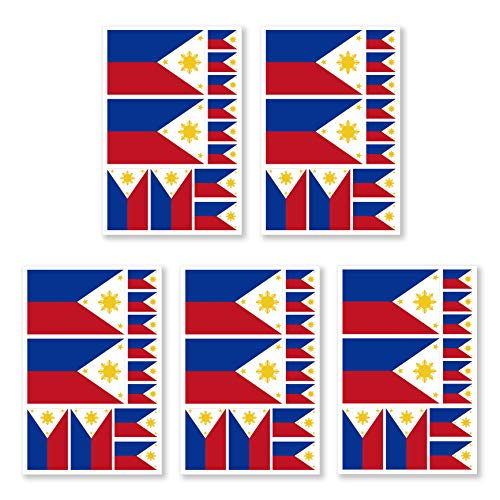 JBCD 5 Pcs Philippines Flag Tattoos Filipino Flag Stickers Face Tattoos, Tattoos Temporary Decorations Suitable for Sports Event and Party