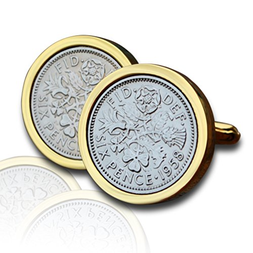Genuine Polished 1958 Gold Sixpence Coin Cufflinks Vintage, 62nd Birthday Anniversary Present, Gift Boxed