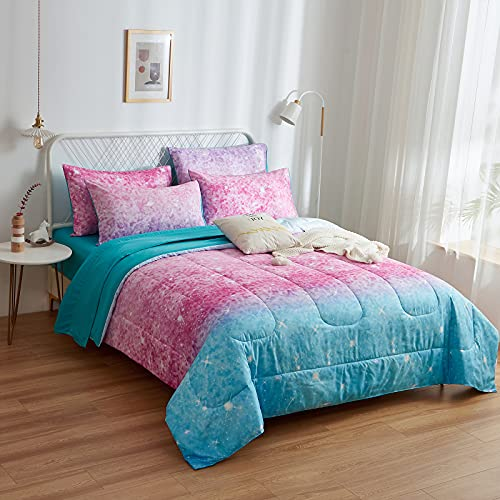 INRON Pink Glitter Comforter Sets for Girls Women,Full/Queen Size 5-Pieces Bed in a Bag Ultra Soft Microfiber Comforter and Sheet Sets, All Season Durable Bedding Set(Colorful,Full/Queen)