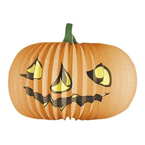 Boland- Lanterna Carta Zucca Halloween, Arancione, 36 cm, 74565