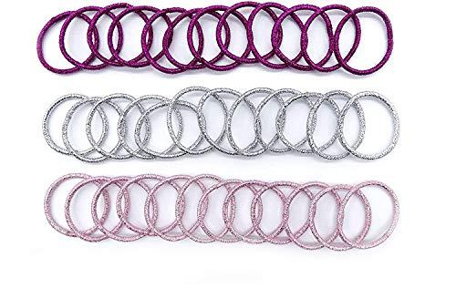 Lot de 36 élastiques à cheveux de petite taille avec fil métallique pailleté de 2 cm de diamètre, couleur fuchsia, rose, argent