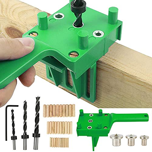 41Pcs Woodworking Doweling Jig Kit 6/8/10 mm Handheld Wood Dowel Drilling Guide for Carpentry Woodworking Tool Hole Puncher Professional Drill Bit Tools (41PCS)
