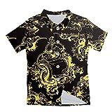 Camisa de Manga Corta de plbeache de Verano para Hombre Flores 3D impresión 3D Camisa Casual Suelta Golden Flowers S