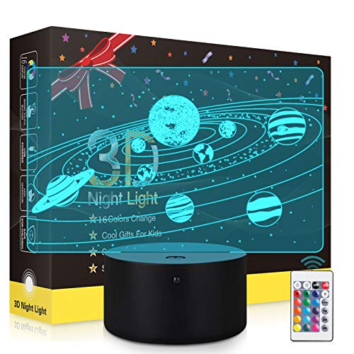 3D Universe Night Light with Timing,Solar System 3D Optical Illusion Lamp for Kids Boys Girls Birthday Christmas Gift,16 Colors Changing Bedside Lamp with Remote & Touch Control