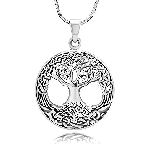 Chuvora 925 Oxidized Sterling Silver Celtic Knot Ancient Tree of Life Round Pendant Necklace, 18 inches