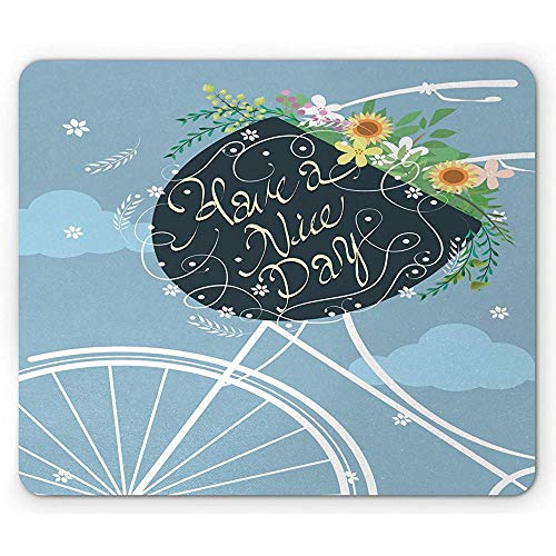 Sprichwort Mauspad,Haben Sie Einen Schönen Tag Kalligraphie Auf Fahrradkorb Mit Bunten Blumen,Rechteck Rutschfest Gummi Mousepad,Standardgröße,Hell Himmelblau Multicolor