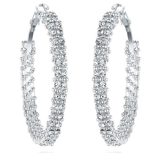 Gemini Ohrreifen (Silber), raffinierte Glitzer & Strass Kombination mit Kristall Steinen, Thin Form, sehr leicht, für jeden Anlass, beliebt bei Girls & Damen, 2,0 cm Durchmesser