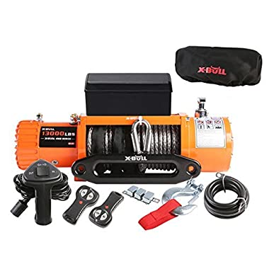 X-BULL 12V Waterproof Synthetic Rope Winch-13000 lb. Load Capacity