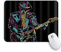 PATINISAマウスパッド ギターを弾く音楽歌手抽象的な手描き ゲーミング オフィス最適 高級感 おしゃれ 防水 耐久性が良い 滑り止めゴム底 ゲーミングなど適用 マウス 用ノートブックコンピュータマウスマット