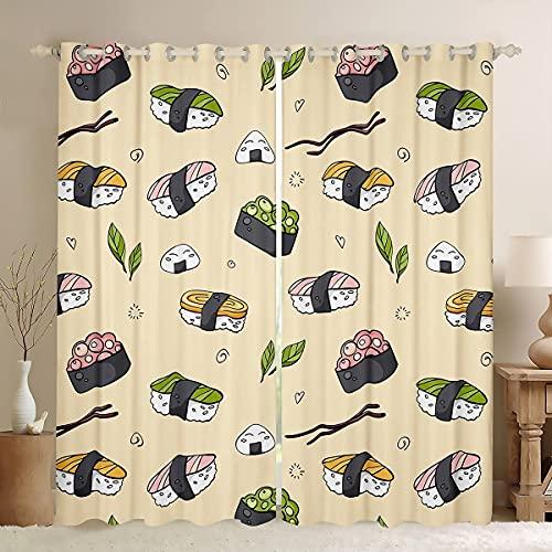 Kawaii Trattamento Finestre Tribale Giappone Sushi Tende per Bambini Adolescenti Uomini Stile Giapponese Tende Elettrico Esotico Tema Tende Tende 168 x 183 cm, Kawaii Camera Decor