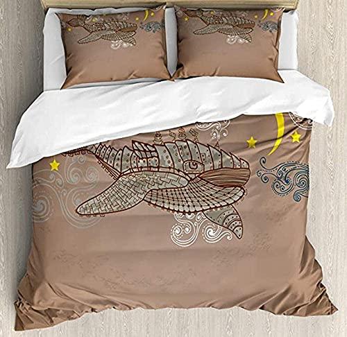 3D three-dimensional digital print Duvet Cover Set Whale Bedding Set with Pillowcases Single(135x200 cm), 2 piece set 1 piece quilt cover + 1 piece matching pillowcase