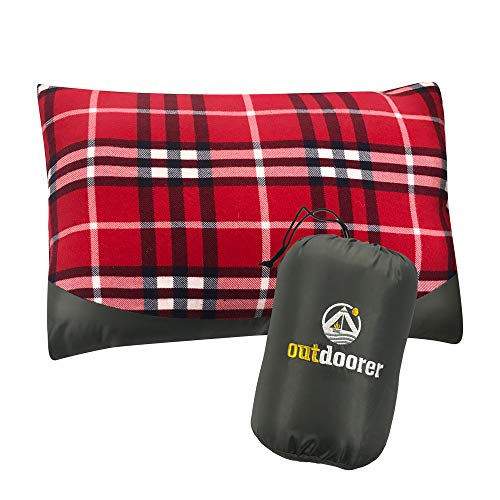 outdoorer Kissen für Camping, Reisekissen im Auto oder Flugzeug, Outdoor Relaxkissen Karminrot