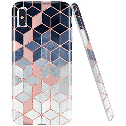 JAHOLAN Compatible iPhone Xs Max Case Shiny Rose Gold Gradient Cubes Design Clear Bumper TPU Soft Rubber Silicone Cover Phone Case for iPhone Xs Max 2018 Brown