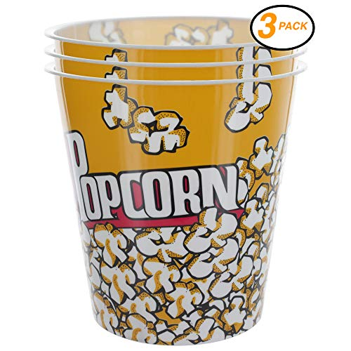 Ram-Pro Popcorn Bucket Cup, Yellow & Red Retro Style Plastic Popcorn Tubs Movie Theater Bucket Classic Popcorn Containers for Movie Night (3-Pack)
