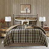 Woolrich Rustic Lodge Cabin Comforter Set Down Alternative Warm Bedding and Matching Shams, Oversized King(110'x96'), Hadley, Plaid Multi 4 Piece