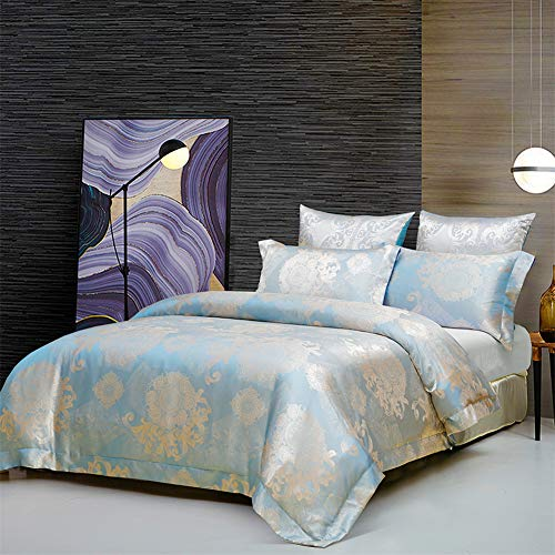 Poulbee Microfibre Duvet Cover 135 x 200 cm and 2 Pillowcases 80 x 80 cm Red Duvet Cover Set with Zip, blue, 220 x 240 cm