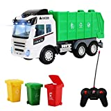 deAO Remote Control Engineering Construction Garbage Truck Vehicle with Three Bins, Light and Sounds Functions Included – Fun Educational Gift for Kids