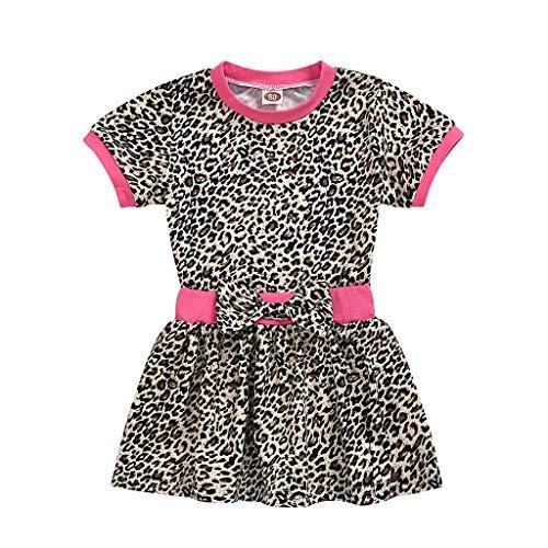 Janly Clearance Sale Conjunto de pantalones para bebés de 0 a 5 años, para niñas de verano de manga corta con estampado de leopardo y faldas para bebés de 18 a 24 meses, color negro
