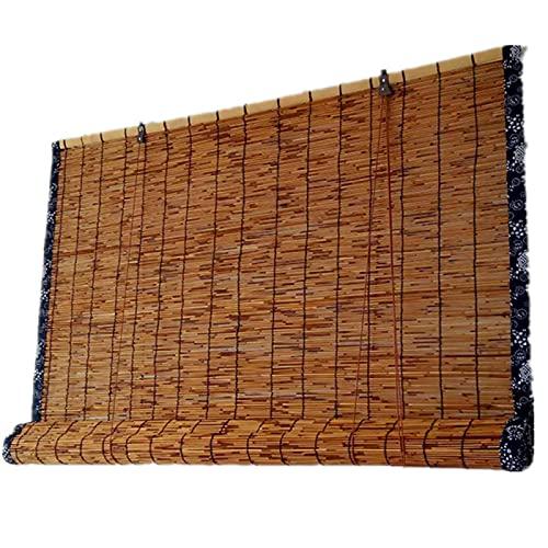 ZCED Tende di bambù per Patio Esterno, Tende per Patio con Bordi Carbonizzati Roll Up Outdoor,Anti-UV Bamboo Shades Tenda a Rullo in Canna Naturale, Tende Oscuranti,130x180cm 51x71in