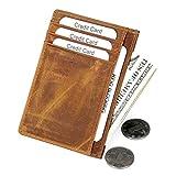 SUVOM Slim Minimalist Leder Geldbörsen Vordertasche RFID Sperrung Kreditkartenetui für Männer Frauen (Braun)