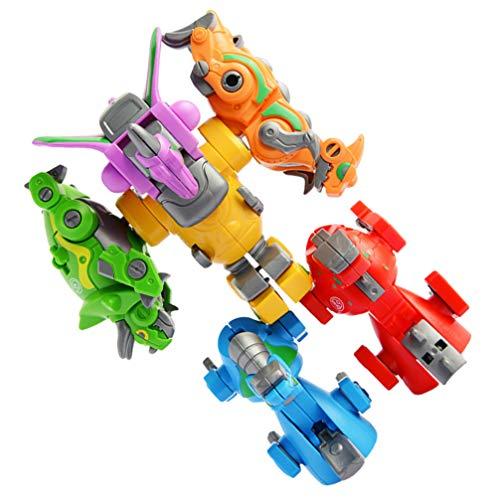 TOYANDONA Dinosaurio Robot Que Transforma Juguetes 6 en 1 Divertido Juguete de Dinosaurio Transformers Dinosaurios Desmontar Juguetes de Dinosaurio Juguetes de Tallo para Niños Niñas Niños