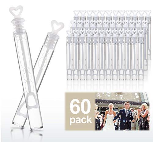 ABSOFINE - 60 fiale di bolle di sapone per matrimoni, con manico a forma di cuore