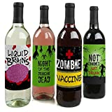 Big Dot of Happiness Zombie Zone - Halloween or Birthday Zombie Crawl Party Decorations for Women and Men - Wine Bottle Label Stickers - Set of 4
