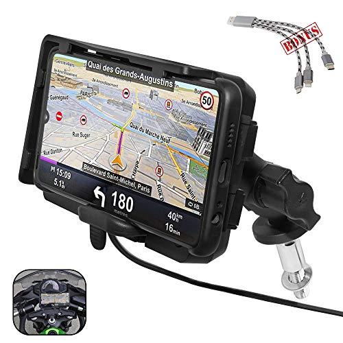 GUAIMI Motorrad Handyhalterung GPS Halterung mit 2 USB Ladegerät für Original-Lenkrohrbefestigung Kompatibel mit K-awasaki Ninja650 17-20 Ninja1000 11-20 GTR1400 06-20 Ninja H2SX 18-20 Z1000SX 11-20