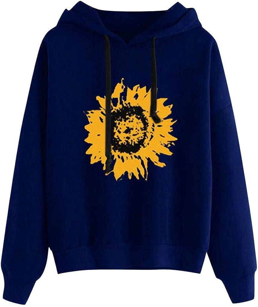 Girls' Hoodie, Misaky Pullover Sweatshirt Casual Sunflower Print Long Sleeve Drawstring Hooded Blouse