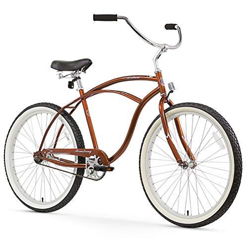Firmstrong Urban Man Beach Cruiser Bike, Mens Bicycle 26-Inch, 1-Speed, Gloss Brown