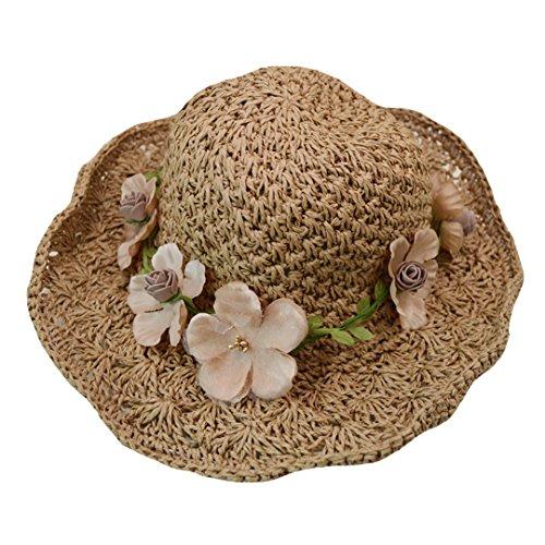 AiSi Mutter und Tochter Stroh Faltbarer Sonnenhut/Strohhut/Sommerhut/Sommer Hut/Kappe/Cap/Hat Ideal für Urlaub am Strand Khaki, Blumen, Erwachsene