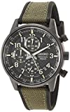 Seiko Men's Chronograph/Essentials Stainless Steel Japanese Quartz With Silicone Strap, Green (Model: SSB373)