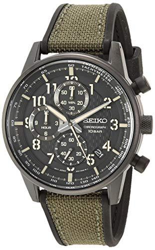 Seiko SSB373 - Reloj de pulsera para hombre (mecanismo de cuarzo japonés, correa de silicona, color verde, 19