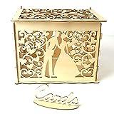 Decdeal Geschenkbox DIY Holz Hochzeit Karte Box mit Schloss und Karte Zeichen Rustikale Hohl...