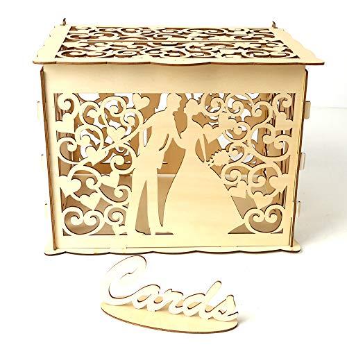 Decdeal Geschenkbox DIY Holz Hochzeit Karte Box mit Schloss und Karte Zeichen Rustikale Hohl Geschenk Kartenhalter für Empfang Hochzeitstag Party Dekoration