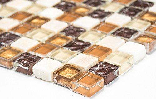 Mosaik-Netzwerk Quadrat Crystal/Stein mix beige/braun Glas Naturstein Fliesenspiegel, Mosaikstein Format: 15x15x8 mm, Bogengröße: 60 x 100 mm, 1 Handmuster ca. 6x10 cm