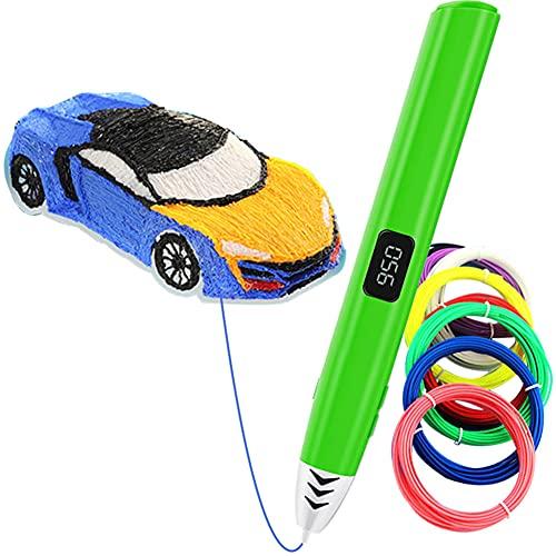Pluma 3D, Bolígrafo 3D Inteligente Varios Colores Filamento PCL, Sin Cable Lápiz 3D con 3 Velocidades Ajustables, Pantalla LCD, Pluma de Impresión 3D, Boli 3D para Niños y Adultos,green